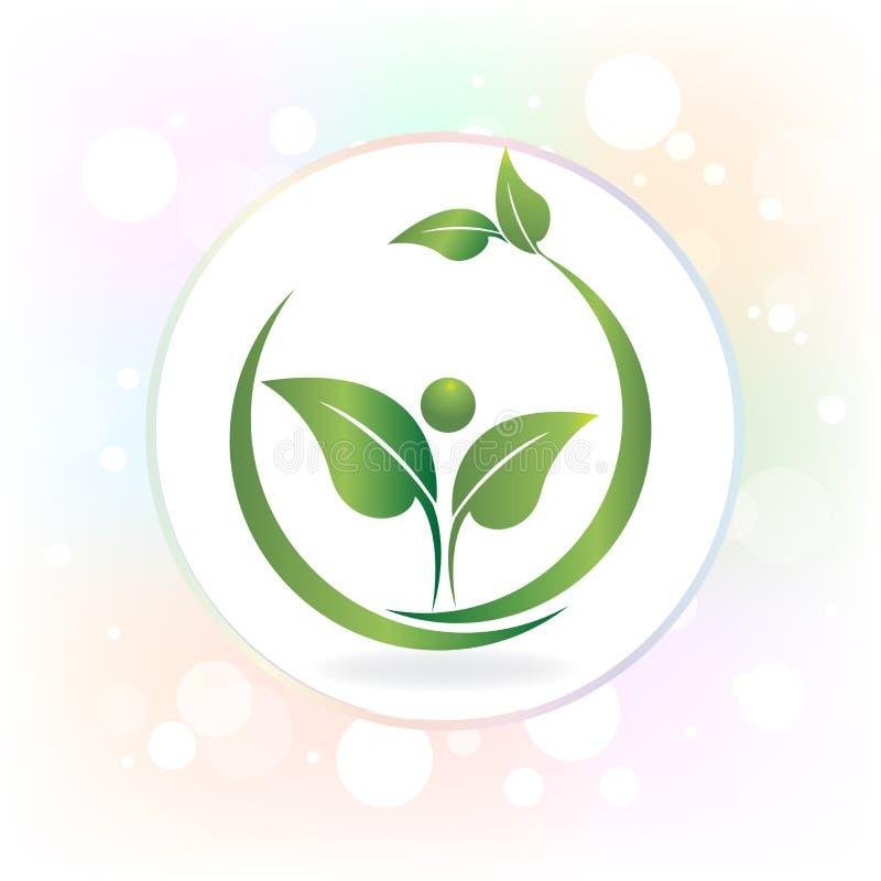 Logogesundheitsnaturblattleuteikonen-Vektordesign lizenzfreie abbildung