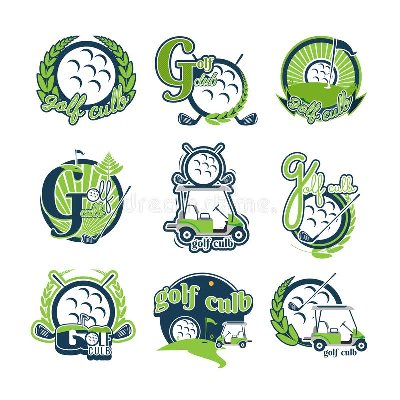 Logogolflogo Design-Sammlung Freeform Normales Leute ` s spor lizenzfreie abbildung