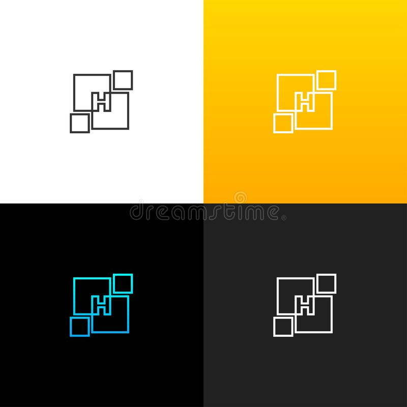 LogoH i abstrakt begreppfyrkant Linjär logo av bokstavsHet för företag och märken med en gul lutning vektor illustrationer