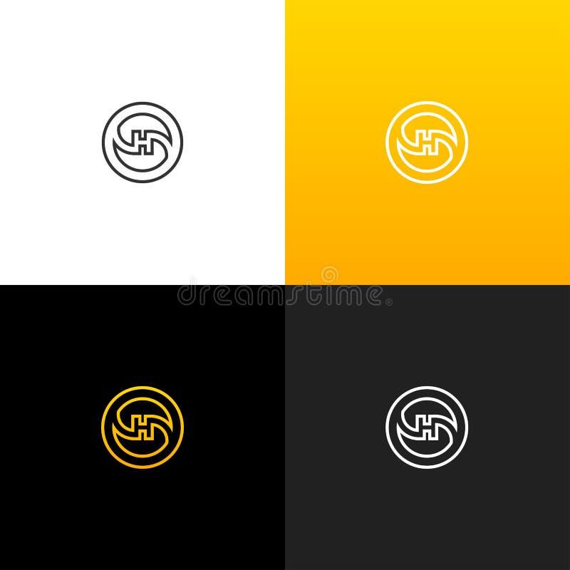 LogoH i cirkellinje Linjär logo av bokstavsHet för företag och märken med en gul lutning vektor illustrationer