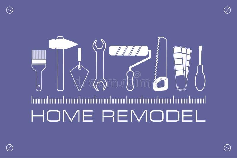 Logohemmet omdanar, symbolen av hjälpmedel för reparation stock illustrationer