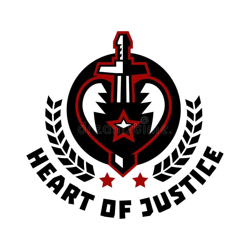 Logoherz von Gerechtigkeit Die Klinge, die das Herz durchbohrt Blut, Schnitt Der Kampf für Gerechtigkeit Held-Thema Wreath Vektor stock abbildung