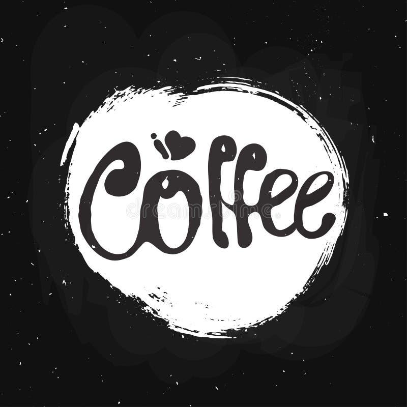 Logoillustration des Kaffeehandabgehobenen betrages mit Beschriftung lizenzfreie abbildung