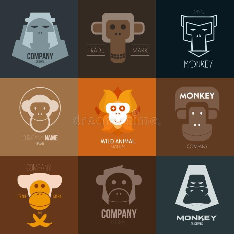 Logoinspiration för shoppar, företag, advertizingen eller annan affär med apan stock illustrationer