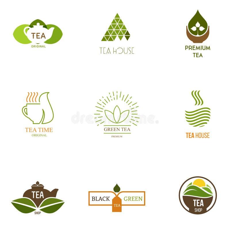 Logoinspiration för shoppar, företag som annonserar med te stock illustrationer