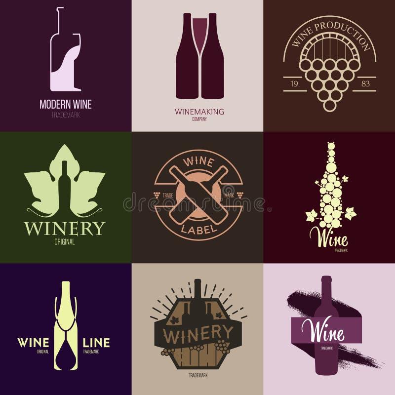 Logoinspiration för shoppar, företag som annonserar med vin stock illustrationer