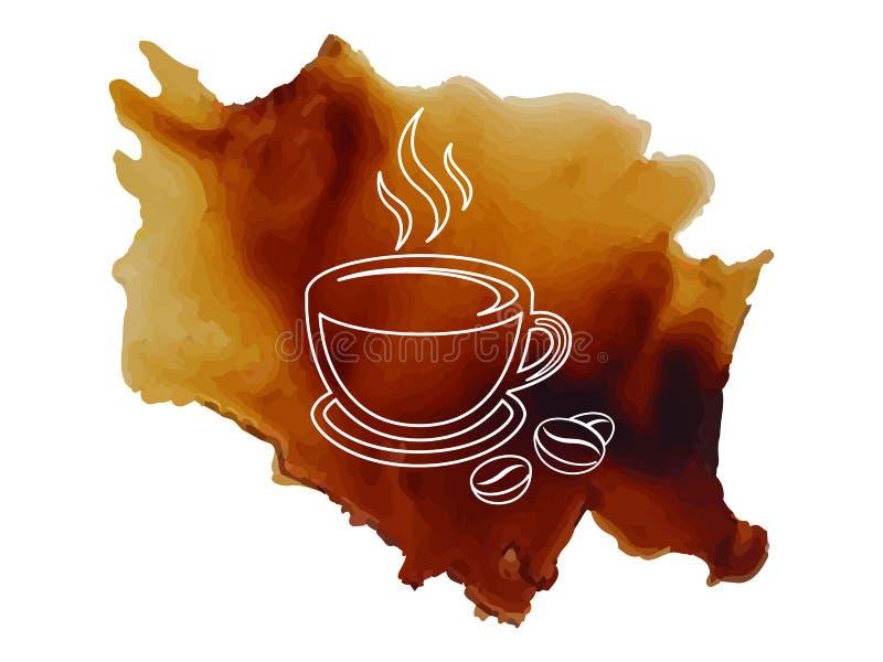 Logokaffekopp med med översikten för kaffebönor på spilld illustration för kaffebakgrundsvektor vektor illustrationer