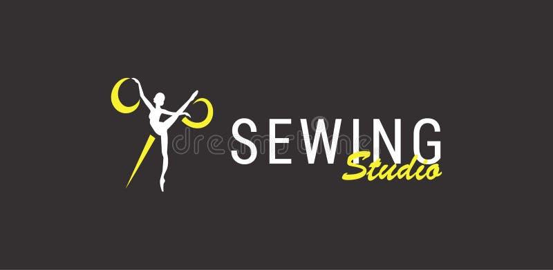 Logokonturballerina och sax som syr studion stock illustrationer