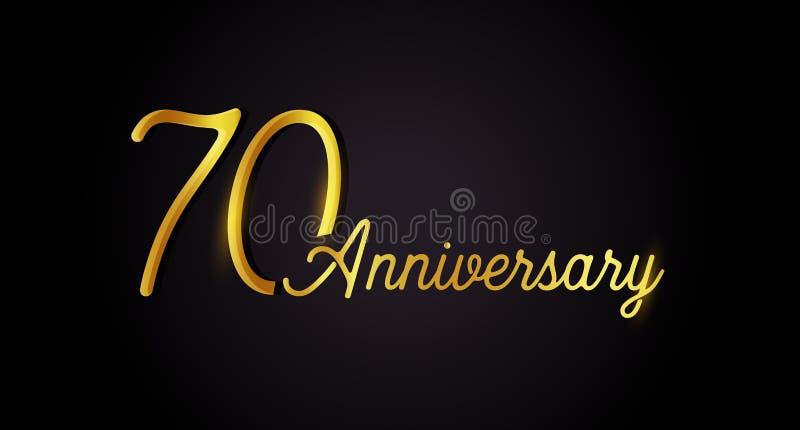 Logokonzept mit 70 Jahrestagen 70. Jahrgeburtstagsikone Lokalisierte goldene Zahlen auf schwarzem Hintergrund Auch im corel abgeh lizenzfreie abbildung