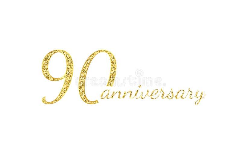 Logokonzept mit 90 Jahrestagen 90. Jahrgeburtstagsikone Lokalisierte goldene Zahlen auf schwarzem Hintergrund Auch im corel abgeh stock abbildung