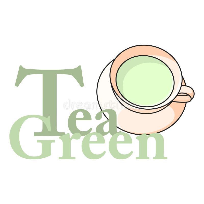 Logokopp av grönt te med inskriften white för vektor för bakgrundsillustrationhaj royaltyfri illustrationer
