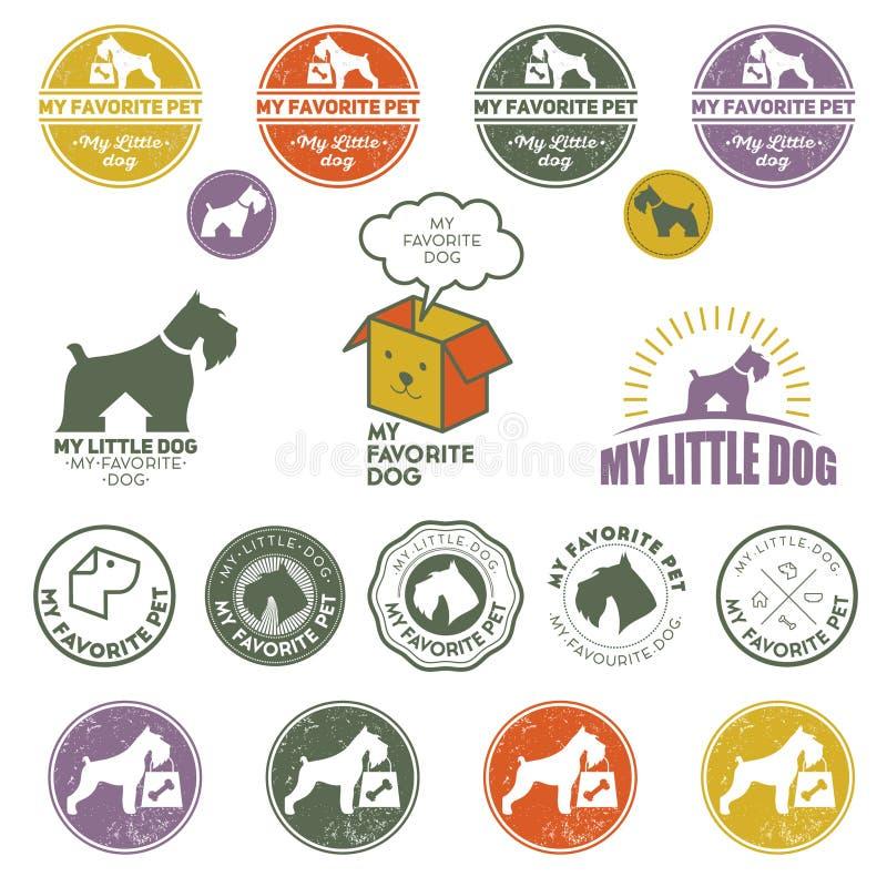 Logolagergods för husdjur leverans Uppsättningen av Terrier hundlogoer royaltyfri illustrationer