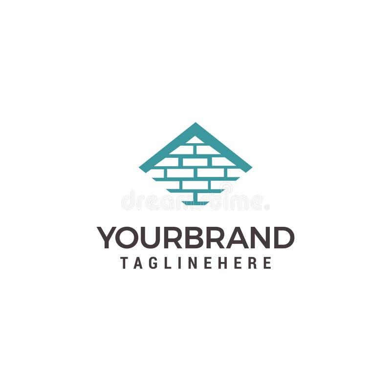 Logomall för fastighet eller byggfirma Illustration av taket av huset som göras av tegelstenar royaltyfri illustrationer