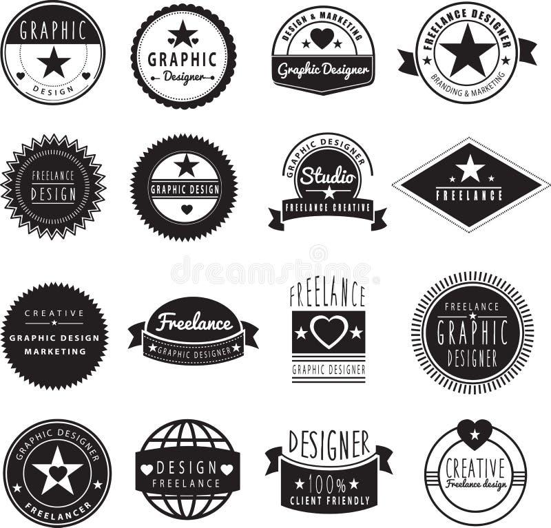 Logomall för grafisk formgivare eller frilans vektor illustrationer
