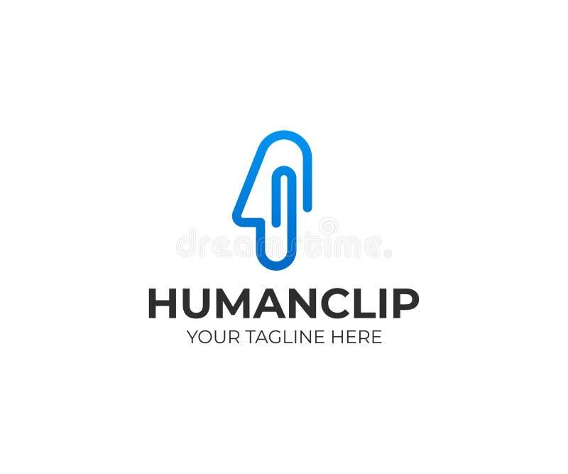 Logomall för mänskligt huvud och gem Design för kontorsgemvektor stock illustrationer
