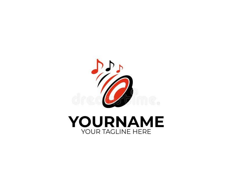 Logomall för solid högtalare och för musikaliska anmärkningar Bashögtalarevektordesign royaltyfri illustrationer