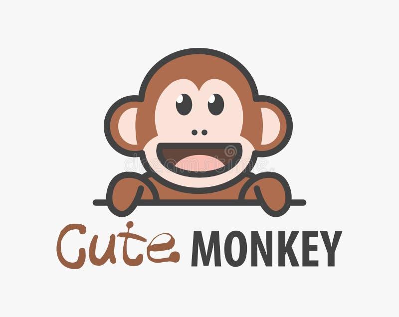 Logomall med den gulliga apan Mall för apa för vektorlogodesign för zoo, veterinär- kliniker Afrikansk djur logo för tecknad film stock illustrationer