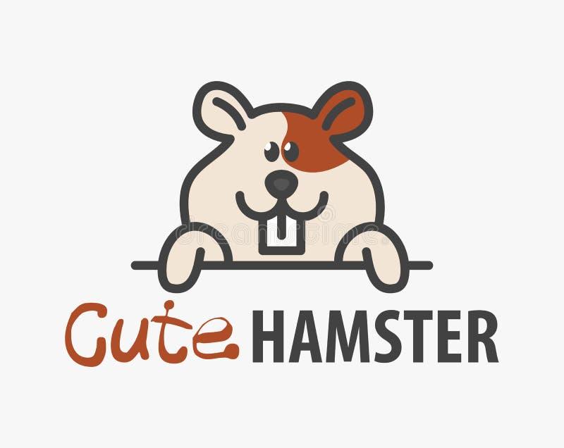 Logomall med den gulliga hamstern Mallen för vektorlogodesignen för husdjur shoppar, veterinär- kliniker och djura skydd Tecknad  stock illustrationer