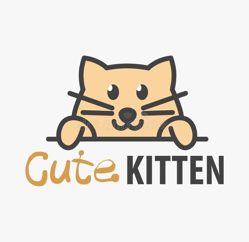 Logomall med den gulliga kattungen Mallen för vektorlogodesignen för husdjur shoppar, veterinär- kliniker och djura skydd yellow  stock illustrationer