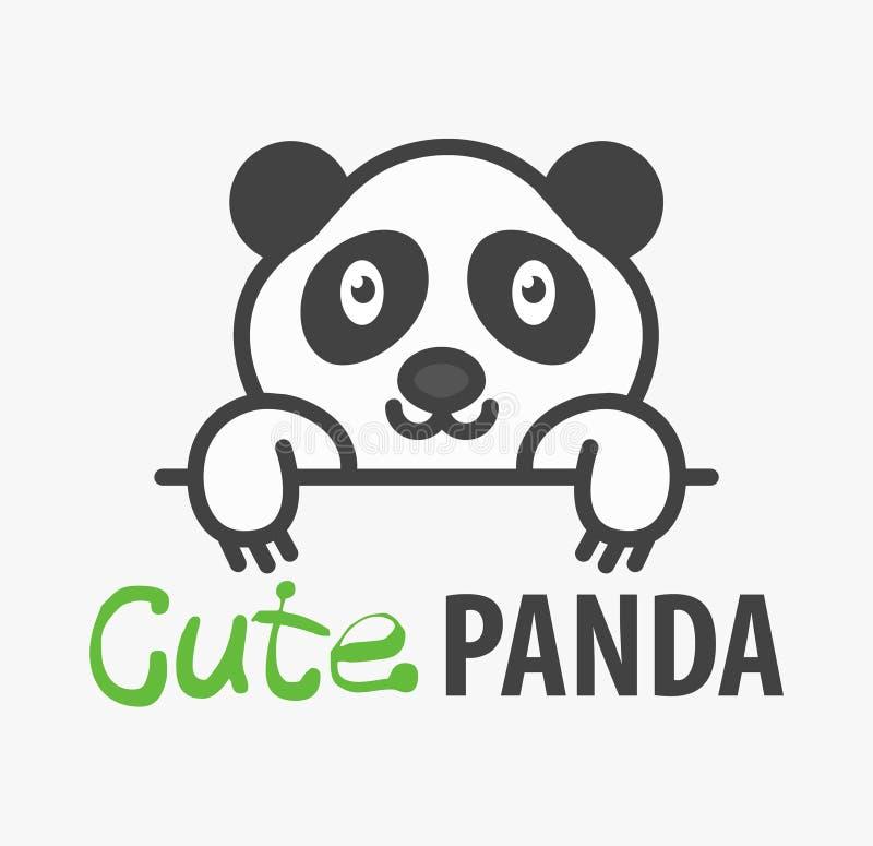 Logomall med den gulliga pandan Mallen för vektorlogodesignen för husdjur shoppar, veterinär- kliniker och djura skydd Tecknad fi vektor illustrationer