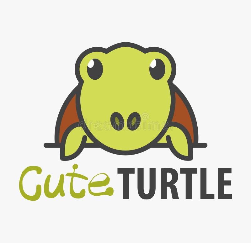 Logomall med den gulliga sköldpaddan Mallen för vektorlogodesignen för husdjur shoppar, veterinär- kliniker och djura skydd stock illustrationer