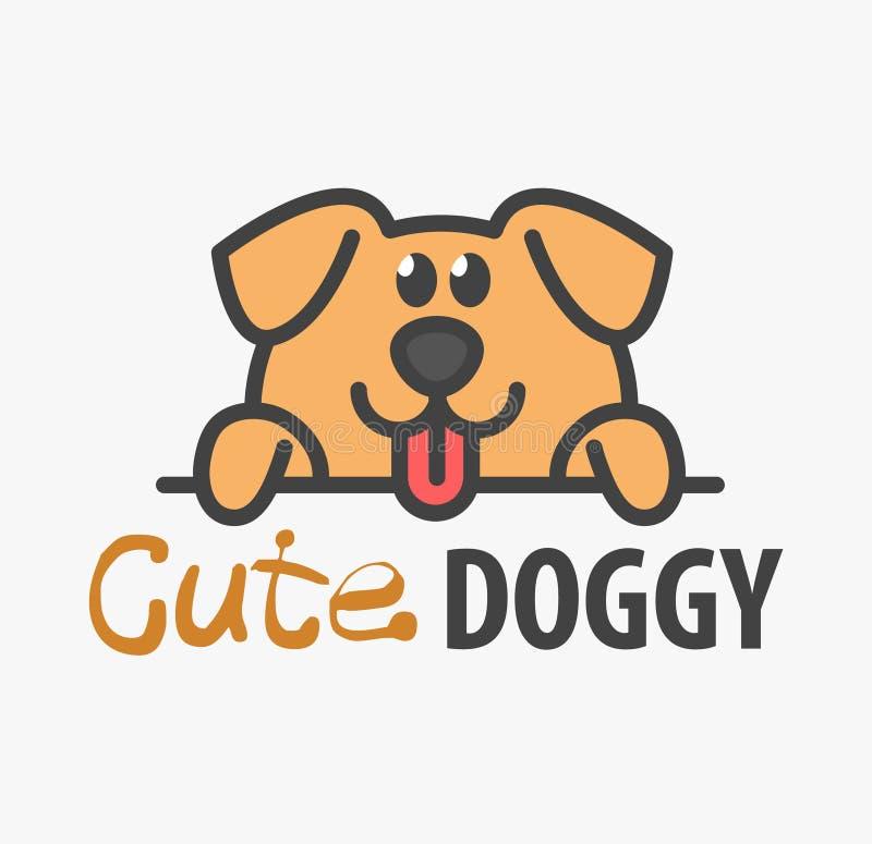 Logomall med den gulliga valpen Mallen för vektorlogodesignen för husdjur shoppar, veterinär- kliniker och djura skydd Tecknad fi royaltyfri illustrationer