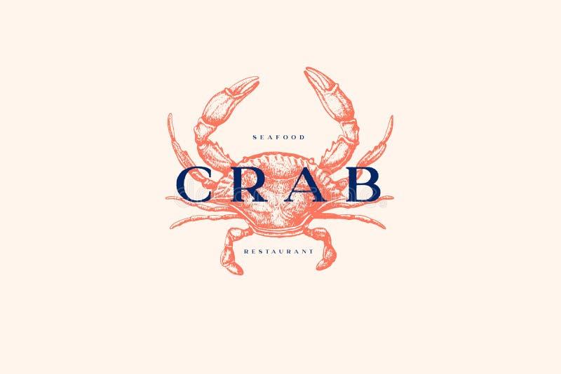 Logomall med en bild av en krabba som dras av grafiska linjer på en ljus bakgrund royaltyfri illustrationer