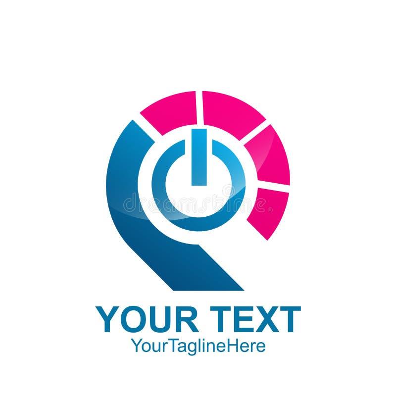 Logomallen för initial bokstav P färgade den blåa rosa färgmaktknappen de royaltyfri illustrationer
