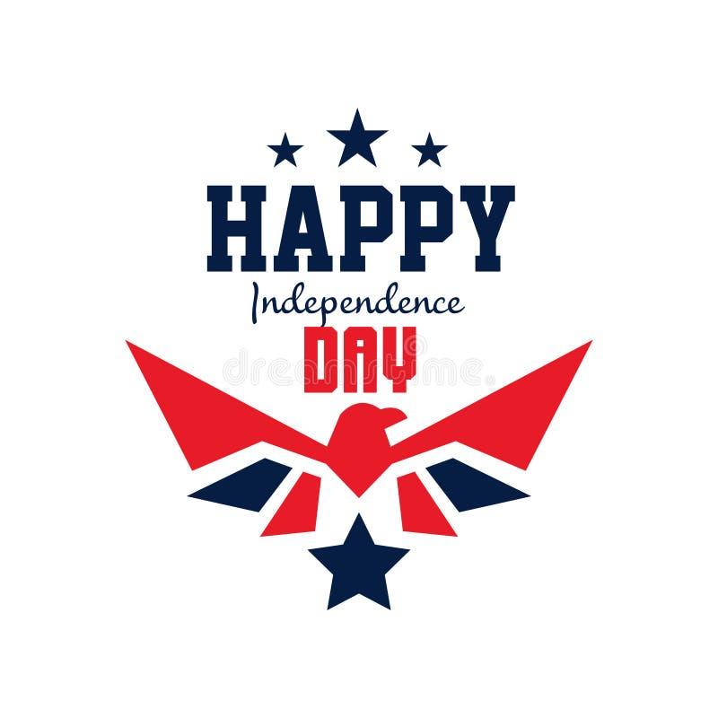 Logomallen med stjärnor och falkkonturn i röd-blått färgar 4th lyckliga juli amerikansk dagsjälvständighet plant stock illustrationer