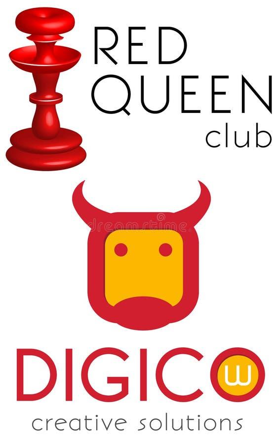 Logomalluppsättning, vektor, röd drottning, flatstylekohuvud royaltyfri illustrationer