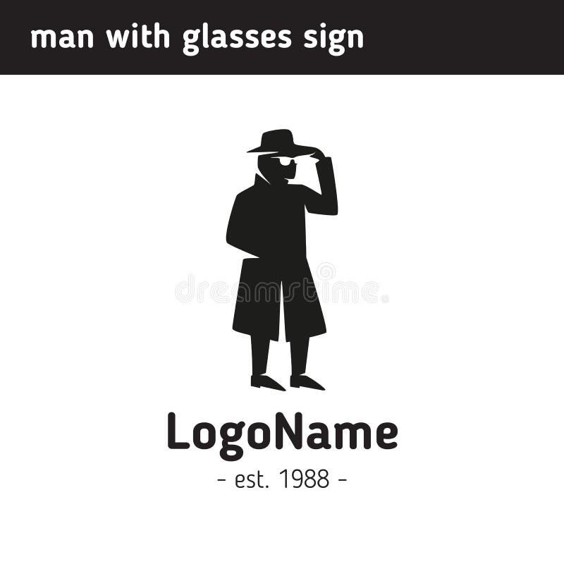 Logoman i en hatt och exponeringsglas royaltyfri illustrationer