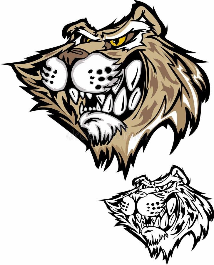 logomaskotvildkatt vektor illustrationer