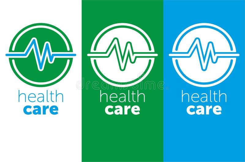 Logomedizin Logogesundheitswesen für Gesundheitszentrum Auch im corel abgehobenen Betrag blaue Farbikone vektor abbildung