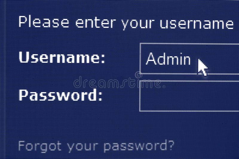 LOGON- und Kennwortbildschirm stockbild