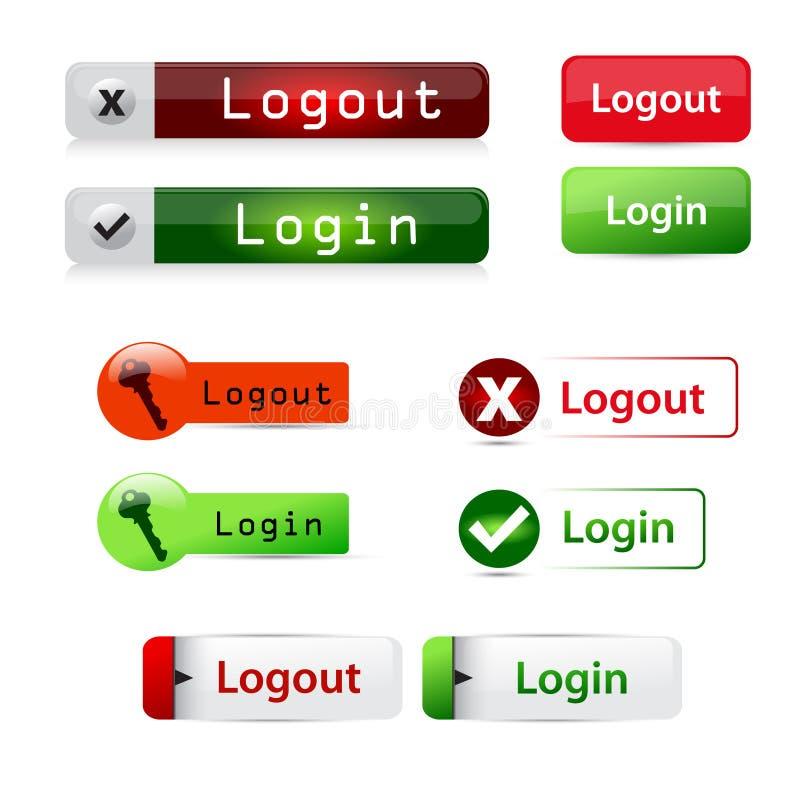 LOGON und Logout lizenzfreie abbildung