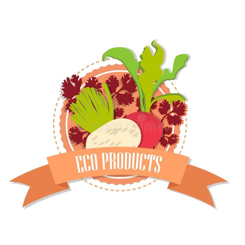 Logorettiche und -rote Rüben mit dem Aufschrift ` Bioprodukte ` lizenzfreie abbildung
