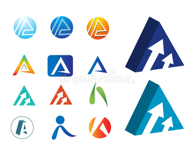 Logos A. Different types of company logos. ai file is available vector illustration