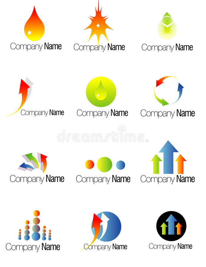 Set of colorful company logos vector illustration