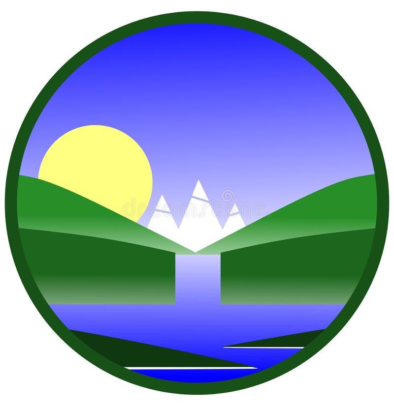 Logos avec la cascade jetant dans un lac illustration libre de droits