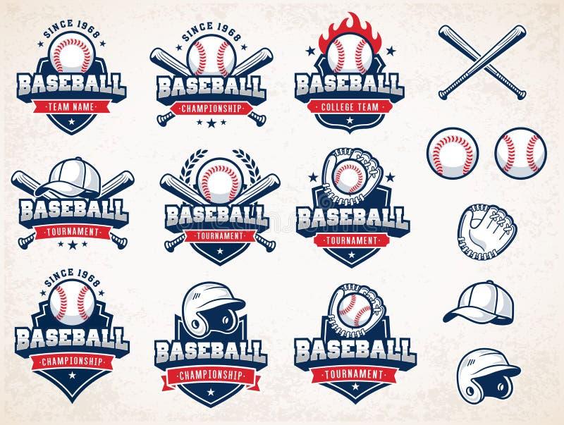 Logos bianco, rosso e blu di baseball di vettore royalty illustrazione gratis