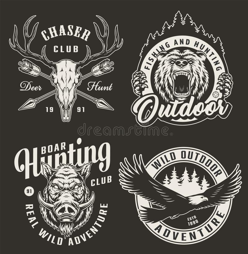 Logos cercante monocromatico d'annata del club illustrazione di stock