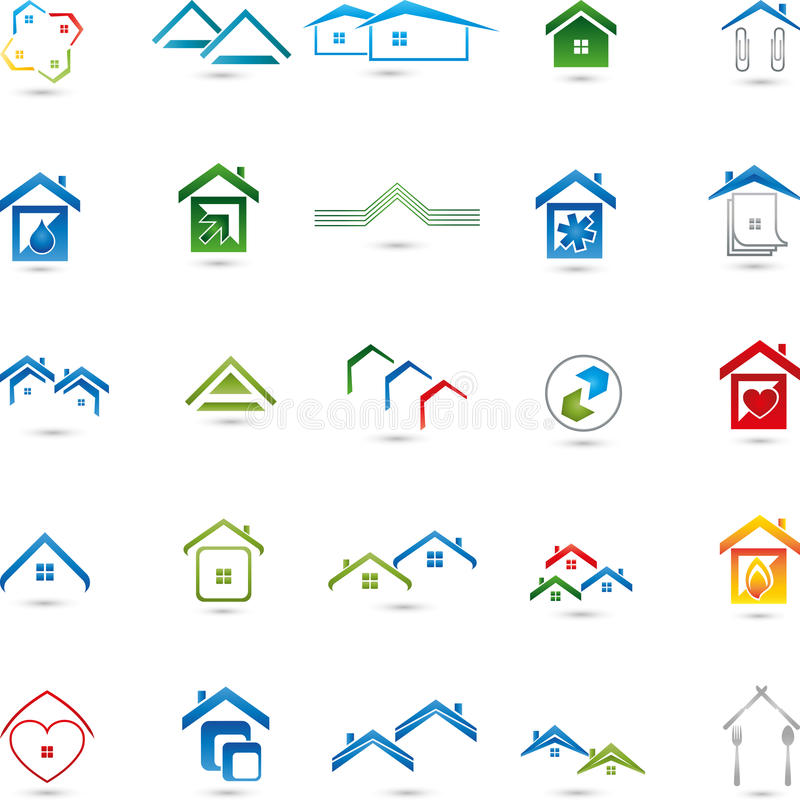Logos collection, real estate, houses, service stock illustration