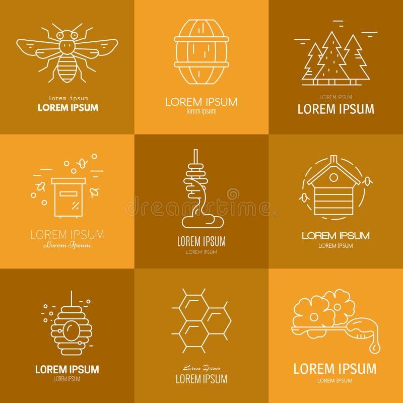 Logos con miele illustrazione di stock