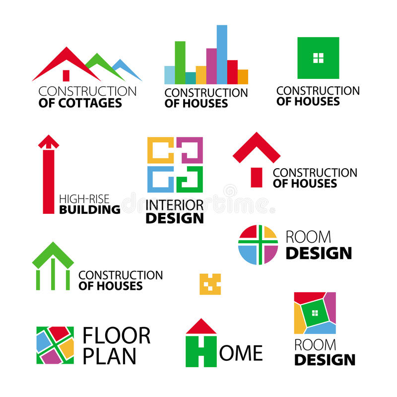 Logos construction and repair of houses stock illustration