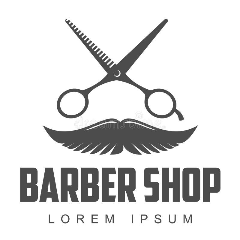 Logos d'annata del negozio di barbiere, etichette, distintivi, elementi di progettazione royalty illustrazione gratis