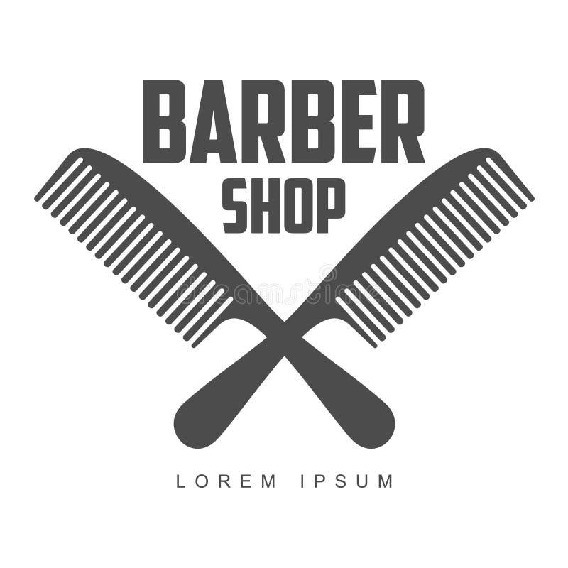 Logos d'annata del negozio di barbiere, etichette, distintivi, elementi di progettazione illustrazione di stock