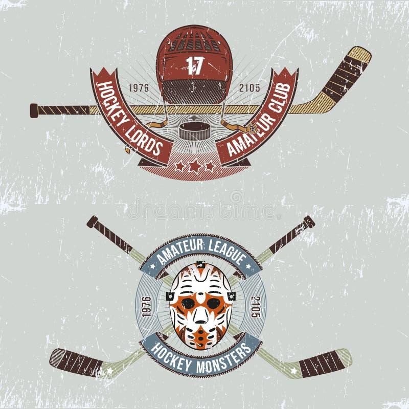 Logos d'hockey illustration stock