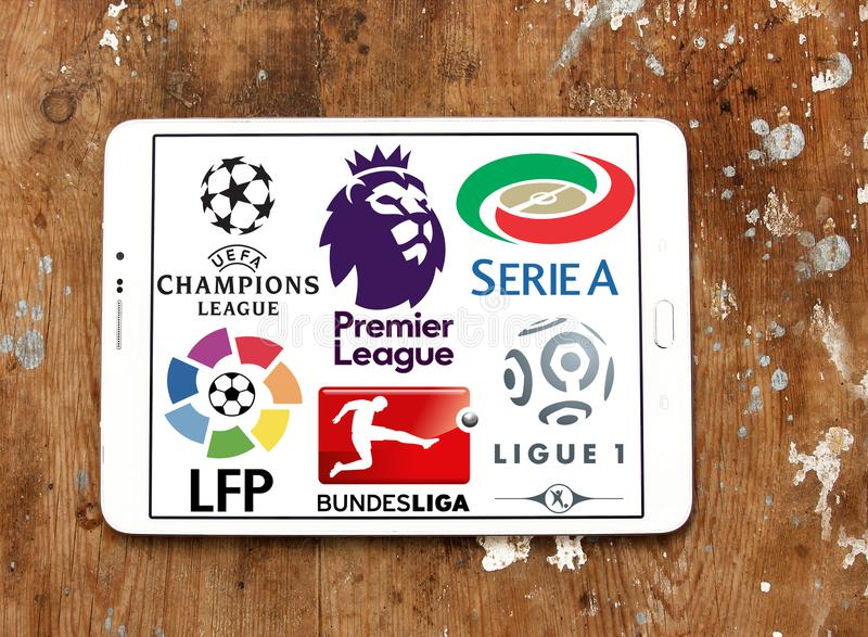 Logos d'icônes de ligues de football photographie stock libre de droits