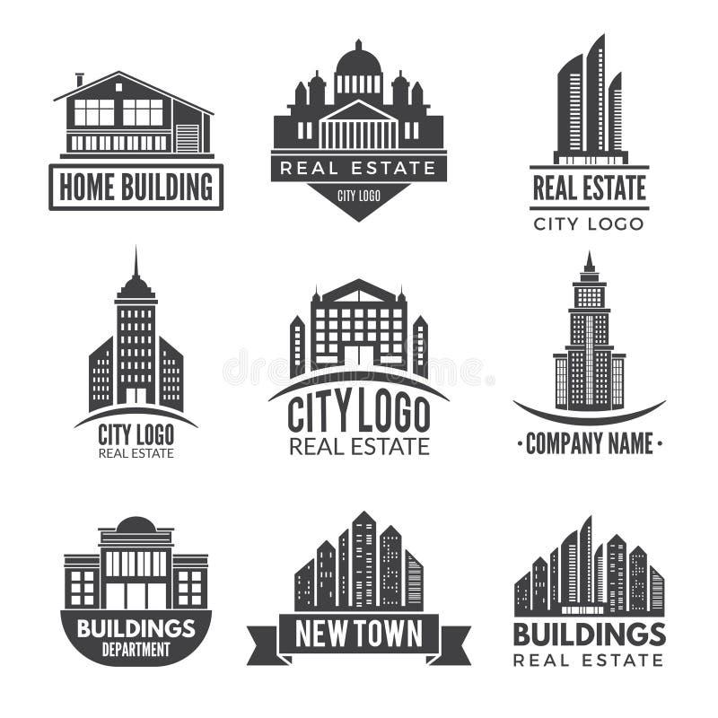 Logos d'immobiliers et labels de monochrome illustration stock
