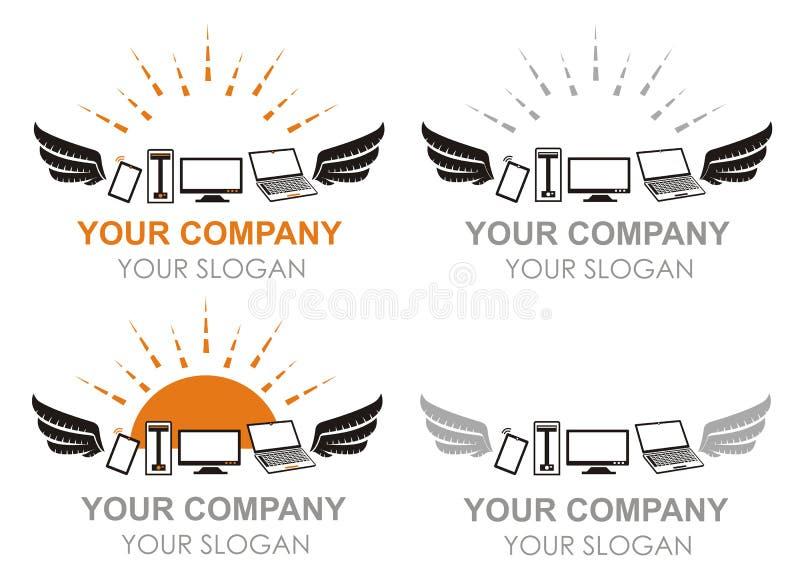Logos d'ordinateurs et de dispositifs de vol dans le vecteur illustration de vecteur